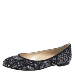 Dior Blue Denim Studded Saga Ballet Flat Size 40