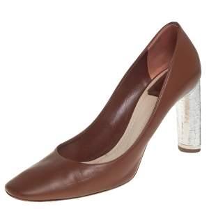 Dior Brown/Silver Leather Savane Pumps Size 41