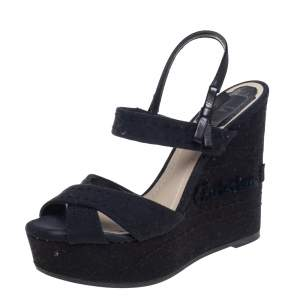 Dior Black Leather And Canvas Criss Cross Platform Wedge Slingback Sandals Size 37