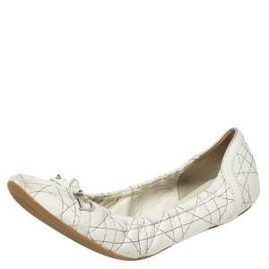 Dior White Cannage Leather Scrunch Ballet Flats Size 41
