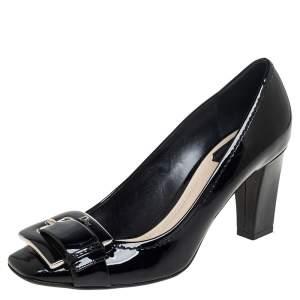 Dior Black Patent Leather Buckle Detail Block Heel Pumps Size 38