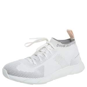 حذاء رياضي ديور قماش تريكو أبيض B21 جورب عنق منخفض مقاس 40