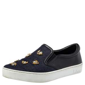 Dior Blue/Black Canvas And Leather Bee Embellishment Sneakers Size 38.5