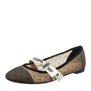 Dior Black Mesh Miss J'Adior Ballet Flats Size 41