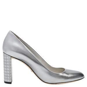 Dior Silver Metallic Leather Cannage Pumps Size EU 39