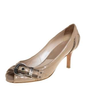 Dior Beige Patent Leather Buckle Detail Peep Toe Pumps Size 37