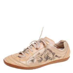 Dior Beige Leather And Satin Embellished Low Top Sneakers Size 41