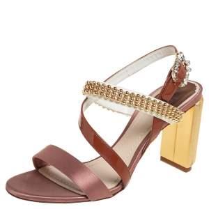 Dior Multicolor Patent Leather Satin Embellished Ankle Strap Sandals Size 37