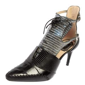 Dior Tricolor Lizard Embossed And Croc Embossed Leather Nomade Cut Out Lace Up Booties Size 38.5