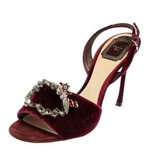 Dior Burgundy Velvet Crystal Embellished Open Toe Slingback Sandals Size 38.5