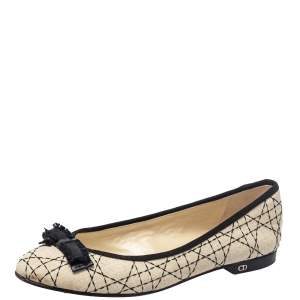 Dior Beige/Black Fabric Ballet Flats Size 40
