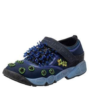 Dior Blue Neoprene Fusion Embellished Slip On Sneakers Size 34