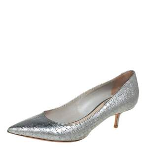 Dior Silver Cannage Leather Kitten Heel Pumps Size 37.5