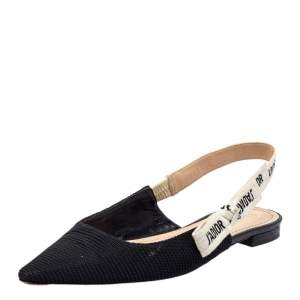 Dior Black Canvas J'adior Slingback Sandals Size 39
