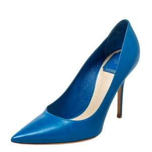 Dior Blue Leather Pointed Toe Pumps Size 38.5
