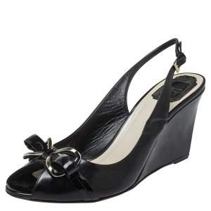 Dior Black Patent Leather Slingback Sandals Size 42