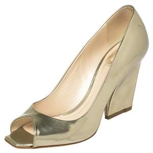 Dior Gold Patent Leather Peep Toe Pumps Size 37.5