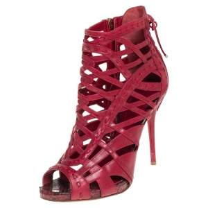 Dior Red Leather Gladiator Ankle Booties Size 37.5