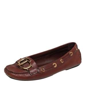 Dior Brown Leather CD Buckle Embellished Slip On Loafers Size 37