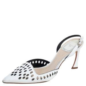 Dior White Leather Laser Cut Slingback Sandals Size 35.5