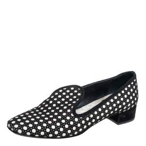 Dior Black/White Suede And Leather Slip On Loafers Size 37