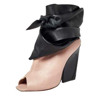 Dior Pink/Black Leather Brooklyn Ankle Wrap Peep Toe Ankle Boots Size 40