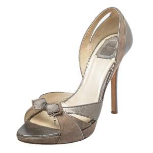 Dior Brown Leather And Suede Bow Sandals Size 38.5