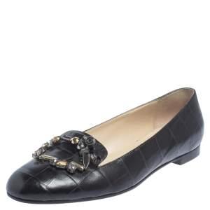 Dior Black Croc Embossed Leather Crystal Embellished Slip On Loafers Size 41