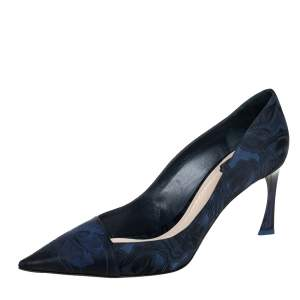 Dior Blue/Black Floral Jacquard Fabric Pointed Toe Pumps Size 41