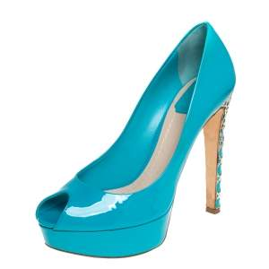 Dior Blue Patent Leather Miss Dior  Pumps Size 39