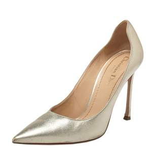 Dior Gold Leather Pointed Toe Pumps Size 39