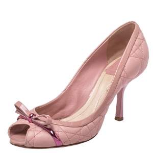 Dior Pink Patent And Quilted Leather Peep Toe Bow Pumps Size 38