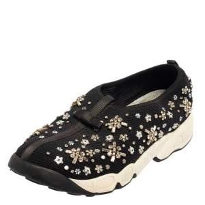 Dior Black Mesh Fusion Crystal Embellished Slip On Sneakers Size 40