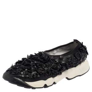 Dior Leather Flower Embellished  Fusion  Sneakers Size 37.5