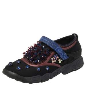 Dior Black Crystal And Sequins Embellished Neoprene Fusion Slip On Sneakers Size 40.5