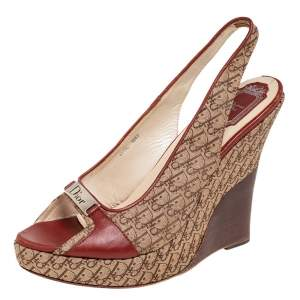 Dior Beige/Brown Monogram Canvas And Leather Wedge Sandals Size 41