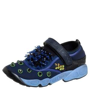 Dior Blue Nylon And Mesh Fusion Low Top Sneakers Size 36