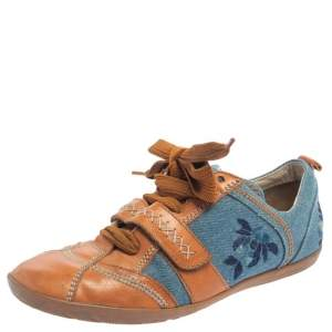 Dior Tan/Blue Denim And Leather Sneakers Size 38