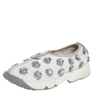 Dior White Mesh Fusion Floral Embellished Slip On Sneakers Size 36.5