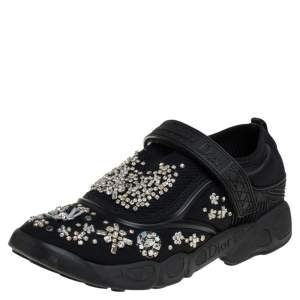 Dior Black Fabric and Mesh Fusion Embellished Low Top Sneakers Size 36.5