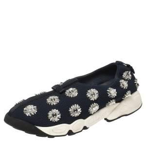Dior Dark Blue Floral Embellished Mesh Fusion Slip On Sneakers Size 40