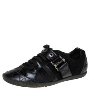 Dior Black Suede and Leather Buckle Detail Low Top Sneakers Size 38