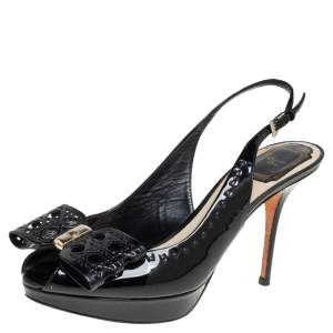 Dior Black Patent Leather Bow Slingback Sandals Size 37.5