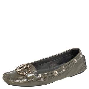 Dior Grey Patent Leather Logo Embellished Slip On Loafers Size 36.5