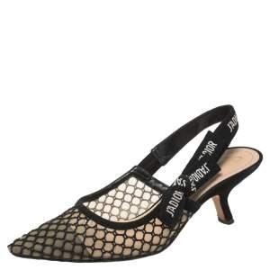 Dior Black Mesh Embroidered Ribbon J'Adior Slingback Sandals Size 37.5