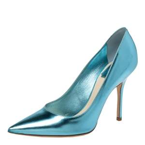 Dior Blue Patent Leather Pointed Toe Pumps Size 36