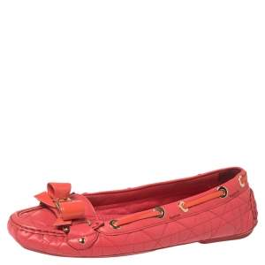 Dior Cerise Pink Cannage Leather Bow Ballet Flats Size 37.5