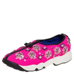 Dior Pink Fabric Fusion Embellished Low Top Sneakers Size 38