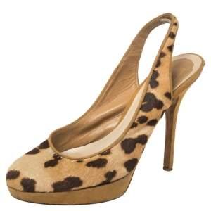 Dior Brown/Beige Leopard Print Pony Hair And Suede Slingback Platform Sandals Size 37