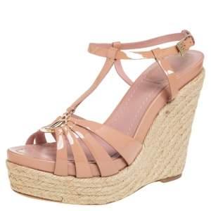 Dior Beige Patent Leather T-Strap Espadrille Wedge Sandals Size 37.5